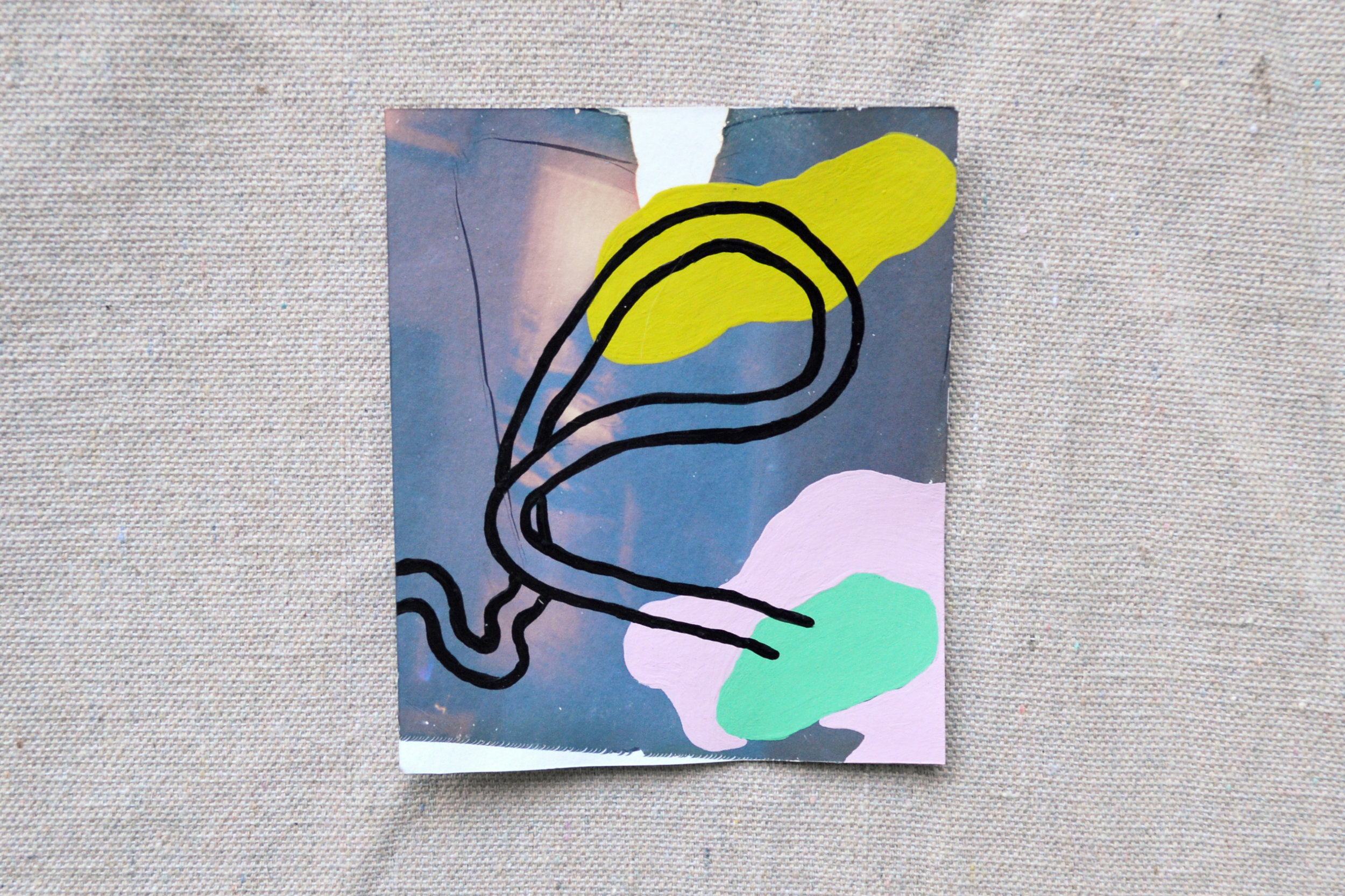"""The Aesthetics Of Being 26 And Maybe Drinking A Little Too Much (Home, At The Time)  Paint on polaroid emulsion on paper  4.5"""" x 4""""  2018"""
