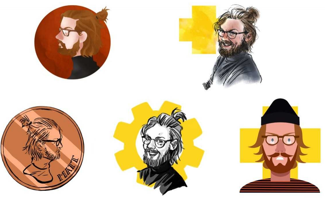 Here are some style explorations I made of animator Matt Truefitt when researching how to draw portraits of the staff here at Cognitive.