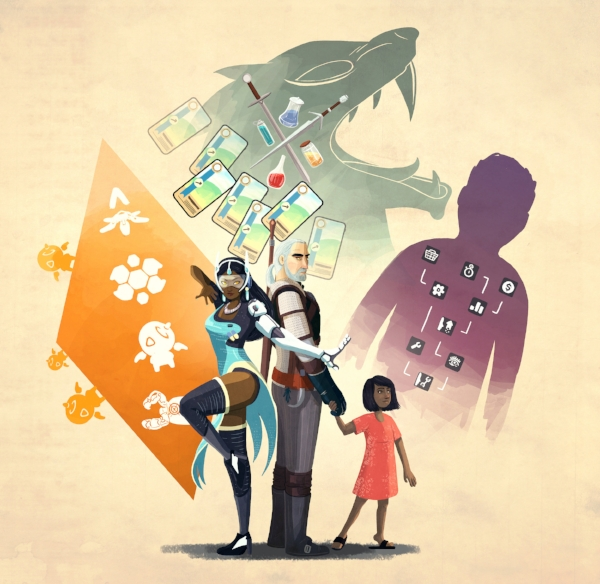 Three characters which show a level of diversity in storytelling in the video-gaming world:  Symmetra  on the left, Geralt  from The Witcher in the centre, Champa  from Missing: The Complete Saga on the right