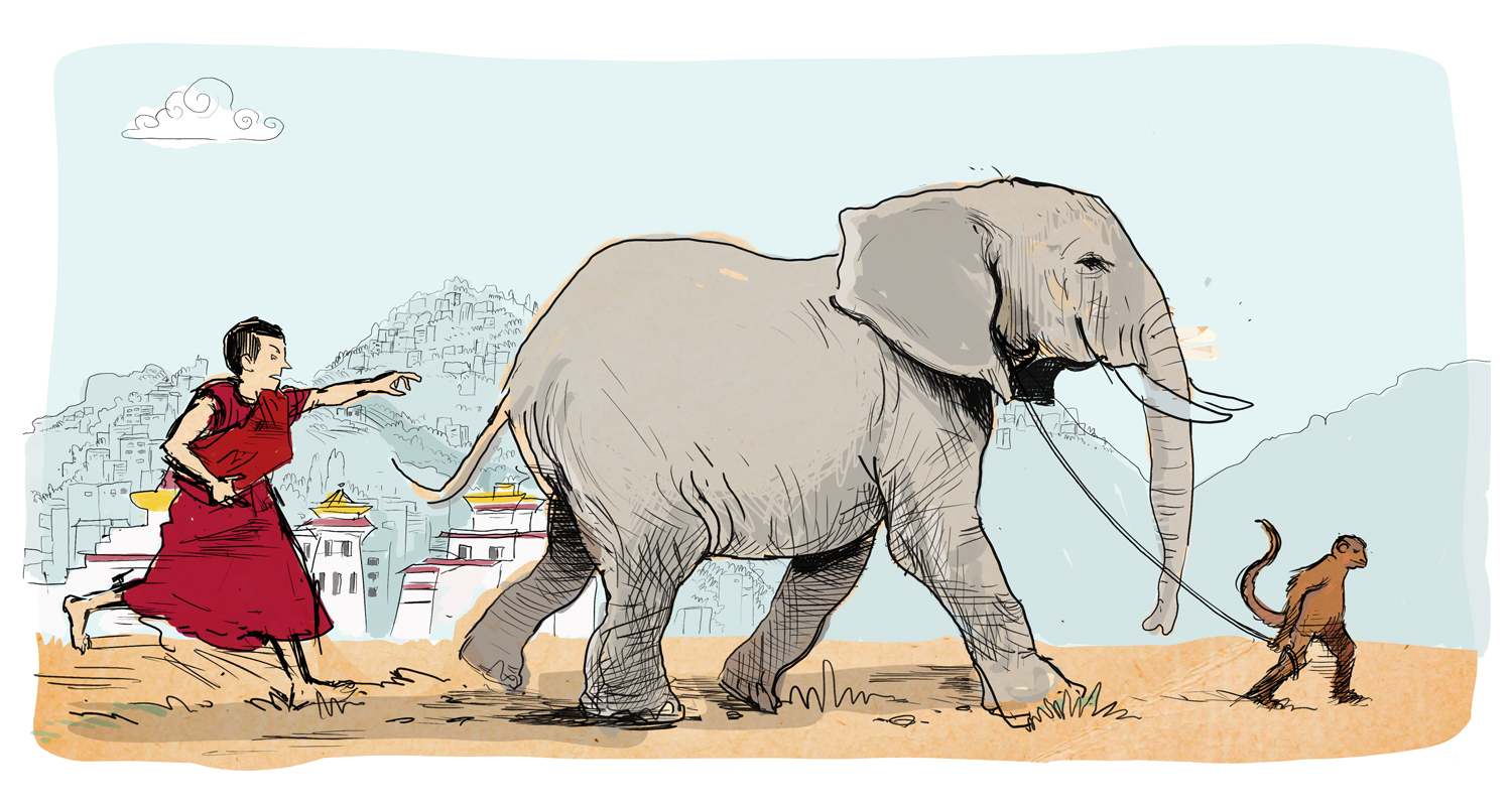 The elephant is a metaphor for a, potentially, difficult to control mind.