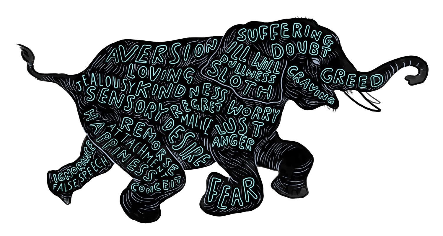 The dark elephant of the human mind - Illustrated by Alex Hedworth