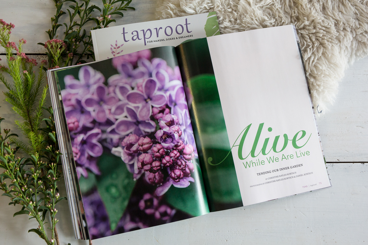 "Alive While We Are Live - Taproot Magazine (April 2019).Personal essay about ""tending our inner gardens.""Photographs by Christine Bayles Kortsch and Daniel Kortsch."