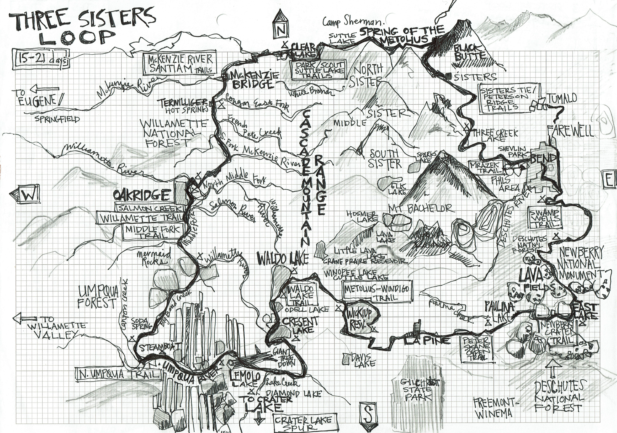 Three Sisters Map