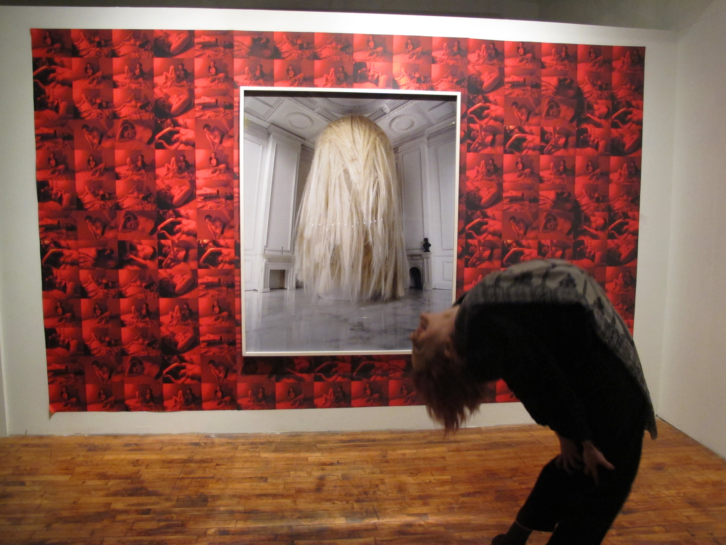 Holiday Show December 2012, Collaboration of Rafael Fuchs (red wallpaper) and Petros Chrisostomou (framed work)