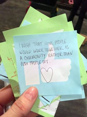 "A guest's ""wish"" from ""Unity Within Diversity"" (Photo: Nicole Disser)"