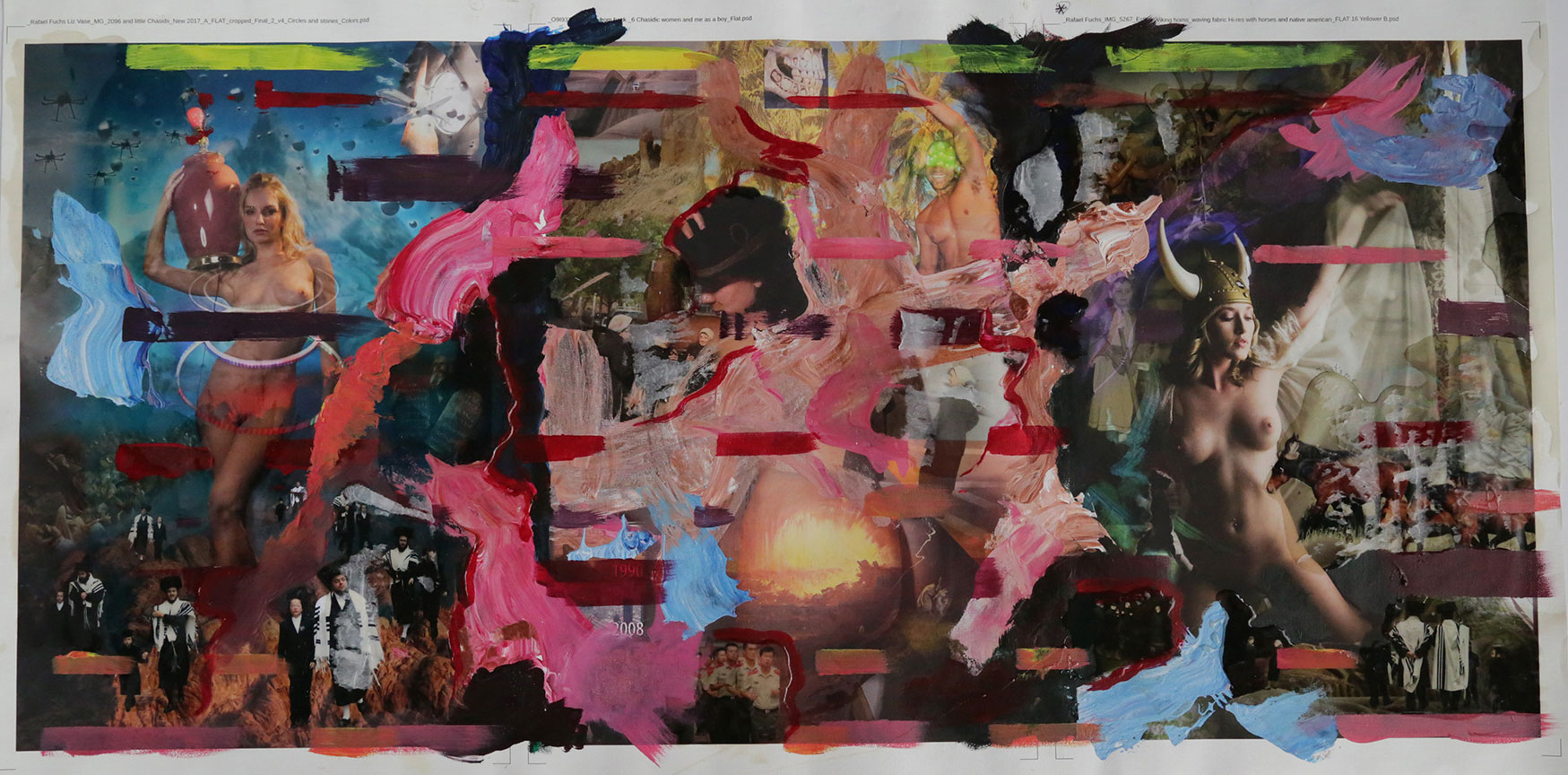 """""""The Golden Calf, Lot's Wife and Esther #3"""" 2017 mixed media  20x42.5"""""""