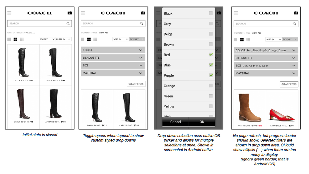 Adaptive Design - Larger screen sizes utilized an open column structure that allowed users to mark several filters at once, while mobile was altered to use stacked accordions and native selectors for a more optimized experience.