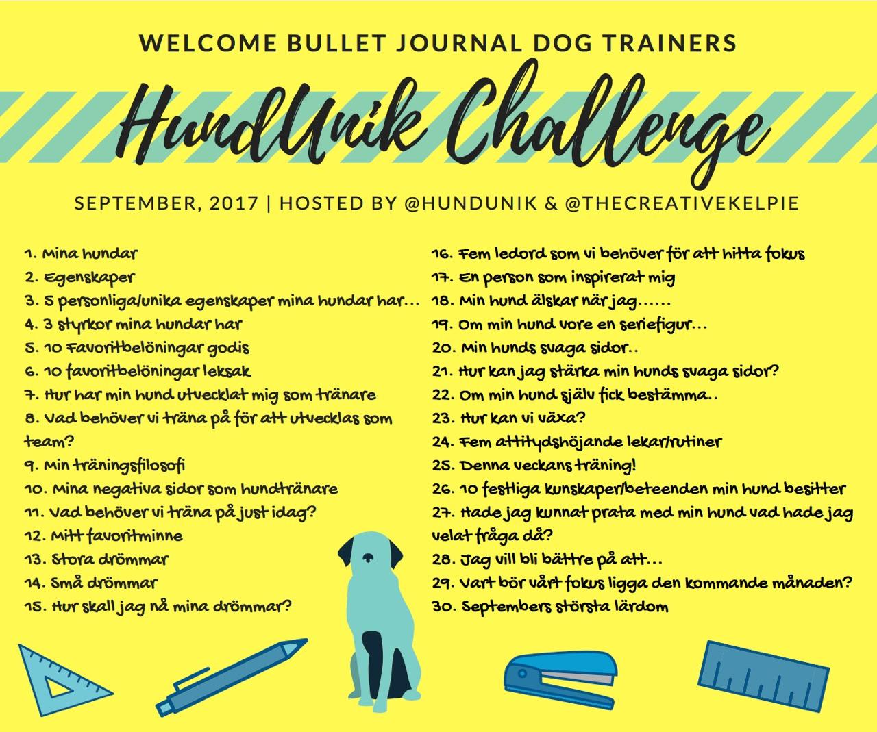 HundUnik Challenge September, glöm inte att #: #HundUnikChallengeseptember  #planeradinhundträning