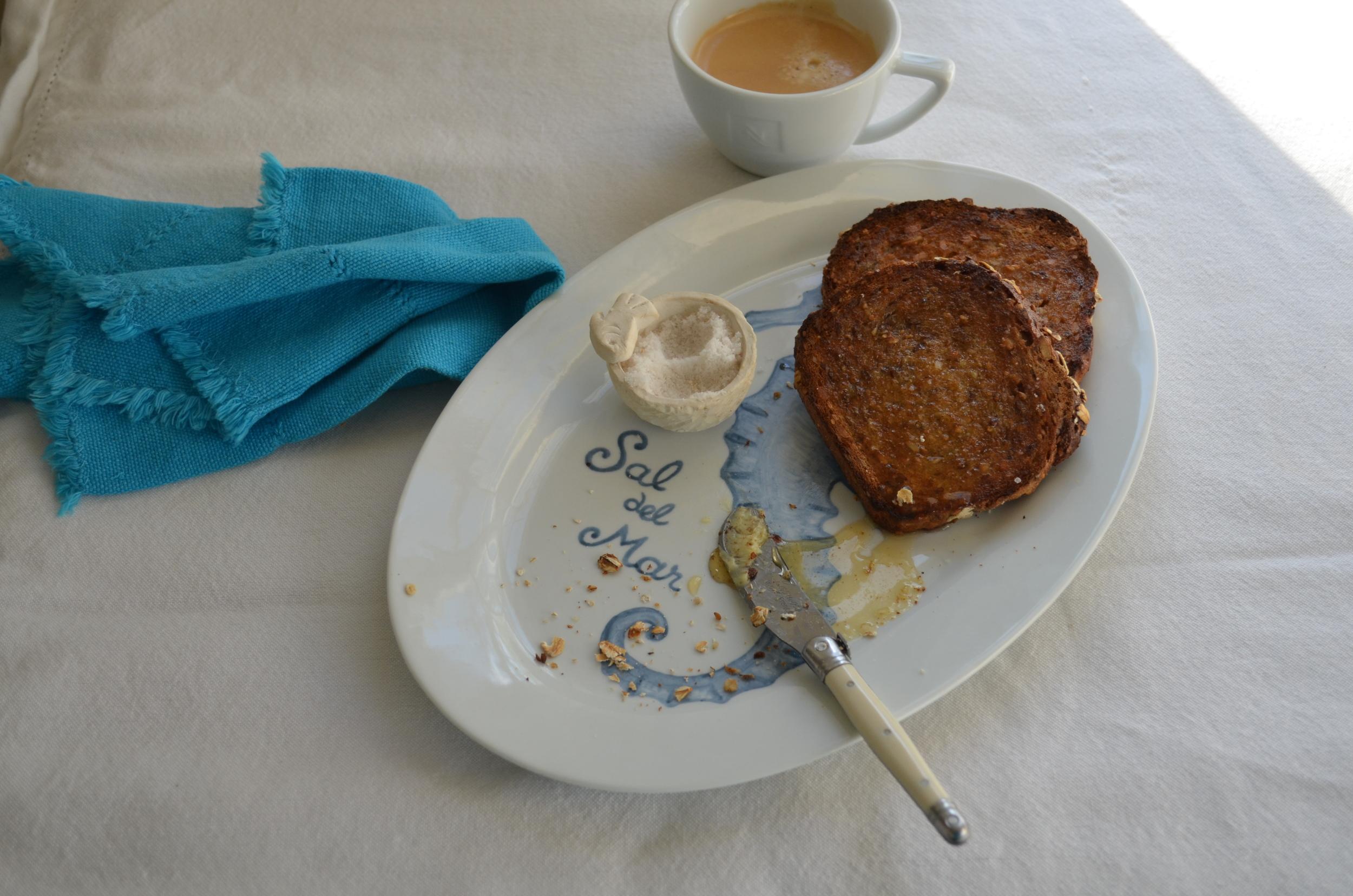 Toast, honey and sea salt