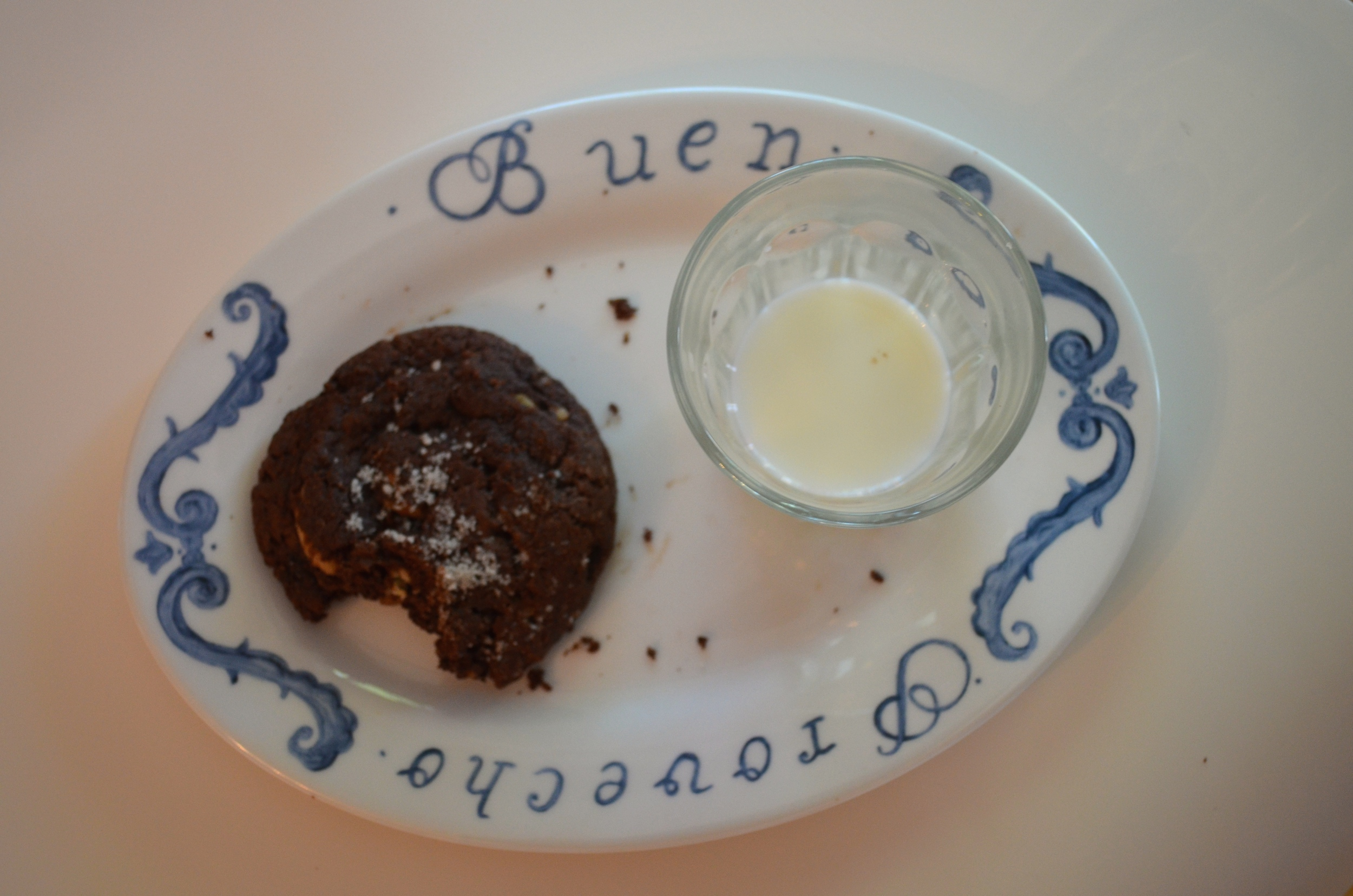 Salted brownie and milk....yum!