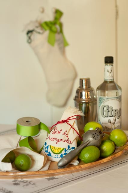 Our hand-embroidered bags of Sal del Mar are an inspiration for holiday stocking stuffer. Ingredients for this combination:  * Sal de Margarita gourmet sea salt in hand-embroidered        bag  * Holiday stocking  * Bar items: lime squeezer, cocktail shaker, tequila, and  limes