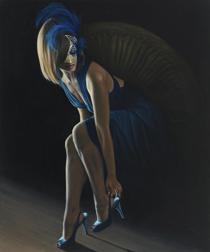 """Femme en Bleu 2: 36"""" x 30"""" Oil on Canvas"""