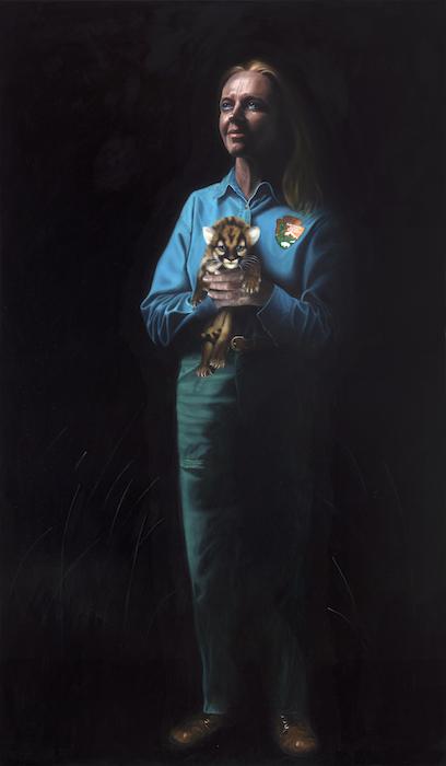 "Deborah Jansen, Florida Panther Biologist: 72"" x 42"" Oil on Board"