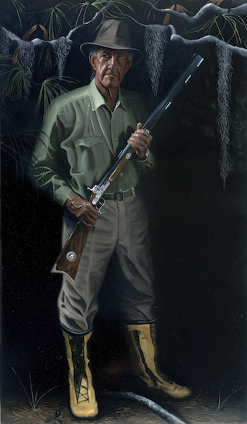 """Gladesman and Conservationist Franklin Adams: 72"""" x 42"""" Oil on Board"""