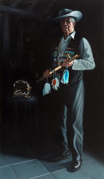 "Chairman Buffalo Tiger of the Miccosukee: 72"" x 42"" Oil on Board"