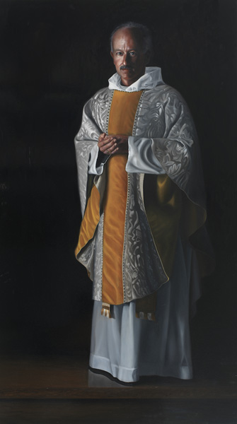 """Father Michael: 70"""" x 39"""" Oil on Board"""