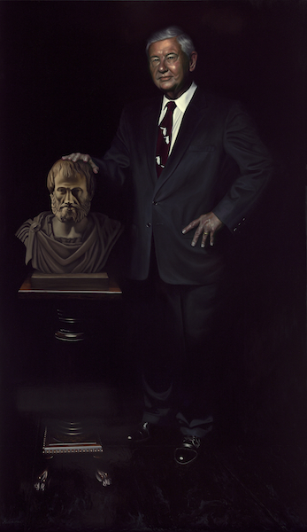 "The Honorable Bob Graham with a Bust of Aristotle 72"" x 42"" Oil on Board ©Nicholas Petrucci 2013"