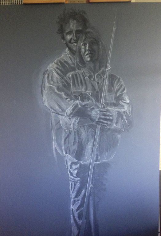 Chalk drawing using the Old Masters technique called verdaccio followed by the classical Italian style of painting a gray-green underpainting.