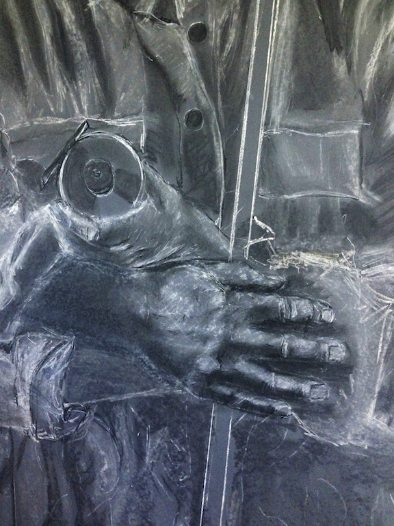 Detail of the chalk drawing portion of a portrait.