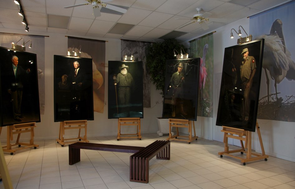 Five of the ten  Guardians of the Everglades  portraits in the gallery.