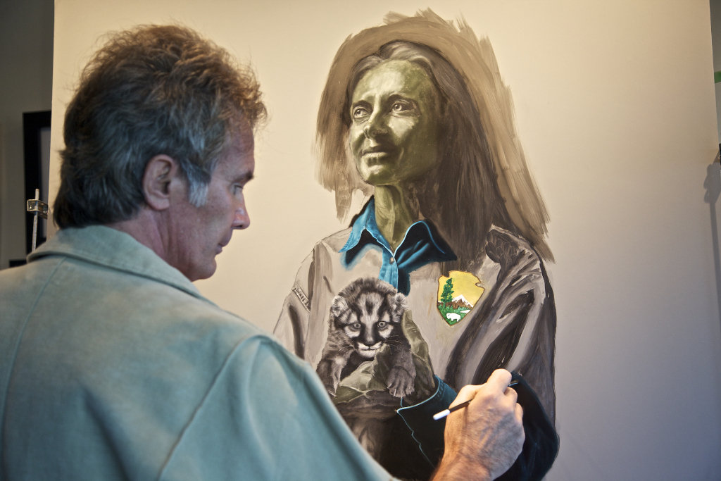 Nicholas adding color over the chalk and verdaccio (gray-green underpainting) to achieve realistic and luminous skin tones on  Guardian Deborah Jansen , Florida Panther Biologist.