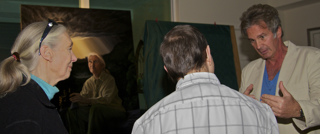 Nicholas meets with Jane Goodall to discuss her portrait.