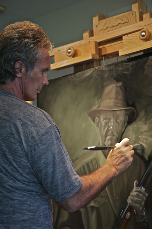 Nicholas laying color over the verdaccio layer for the portrait of  Guardian Franklin Adams .