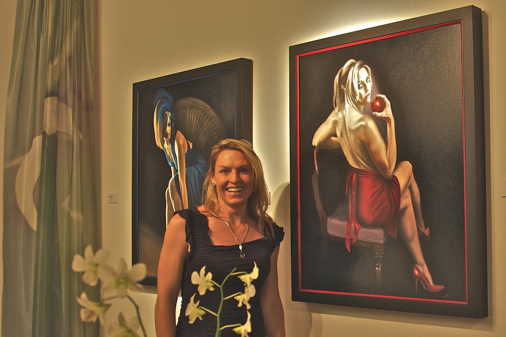 Kiersten Mooney with her portrait, Original Sin