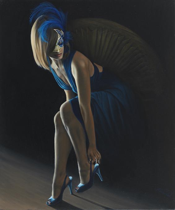 """La Femme en Bleu 2, 36""""x30"""" Oil on Canvas ©Nicholas Petrucci"""