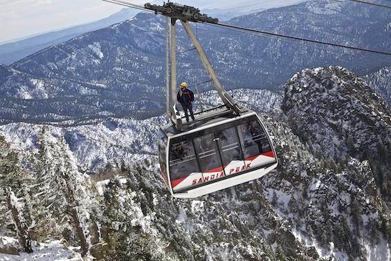Sandia Peak Tram with Man on Top ©Connie Bransilver