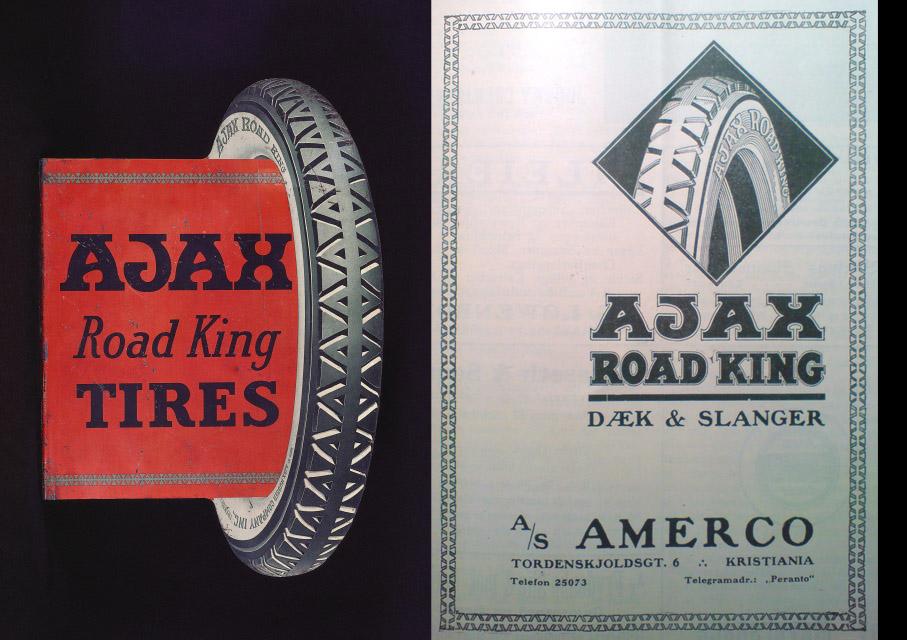 Reklame for Ajax Road King, den til høyre fra Norsk Motorblad 1921