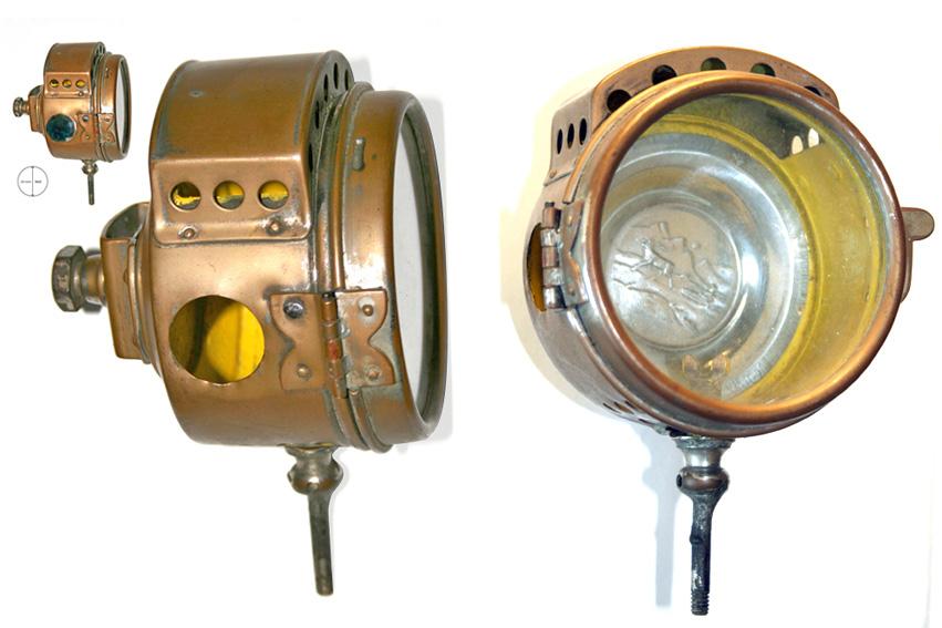 """Sidelyktens manglende grønne """"juvel"""" som markerer styrbord side, er senere funnet på e-bay. Improvisert reflektor."""