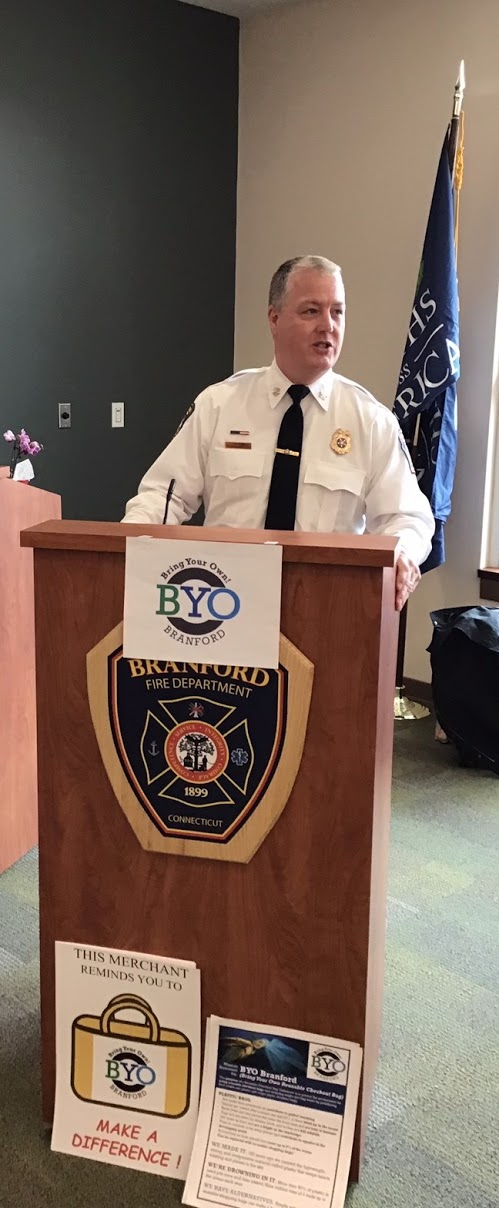 Branford Fire Chief welcoming the Club