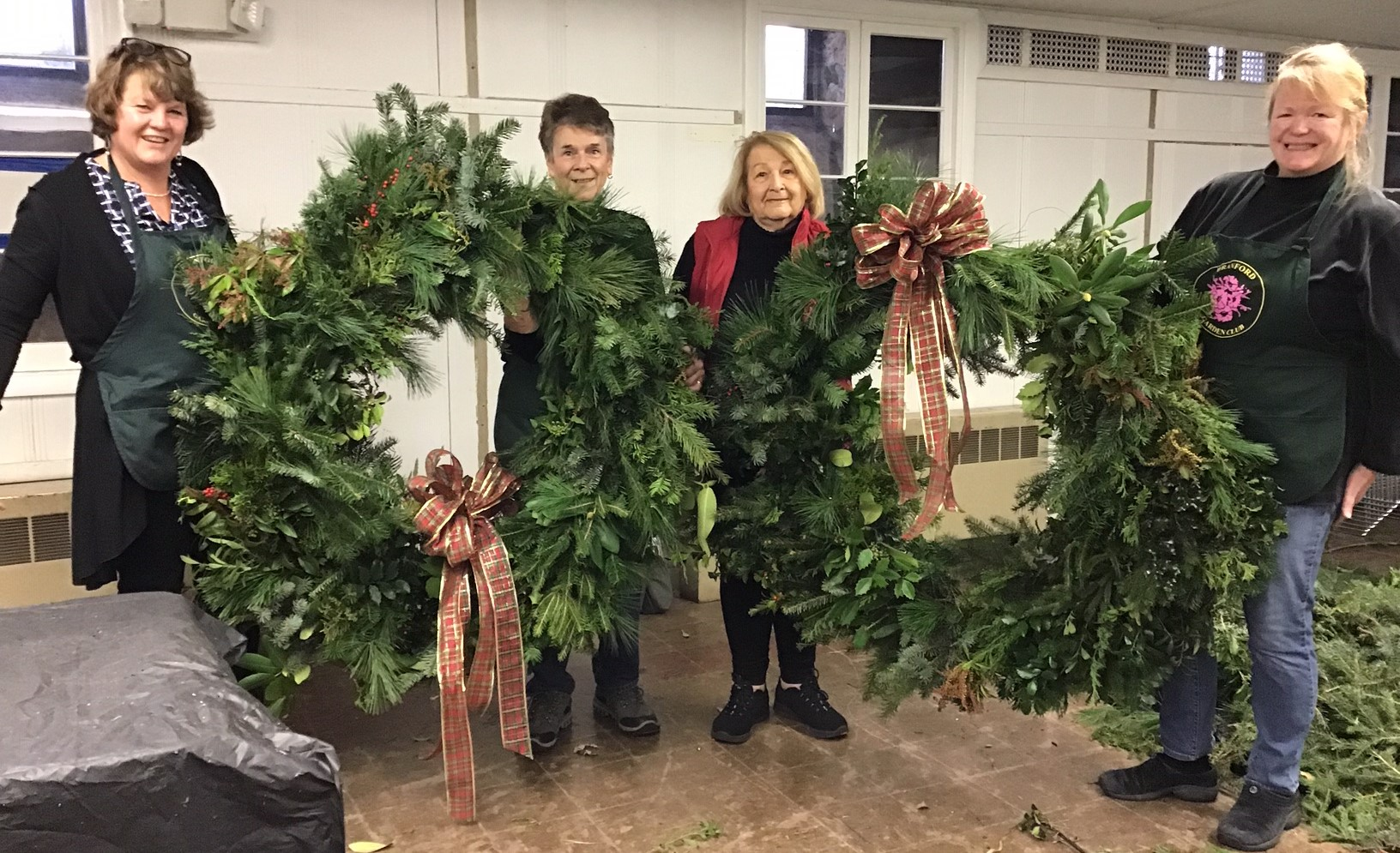 Making the yearly wreaths for the library