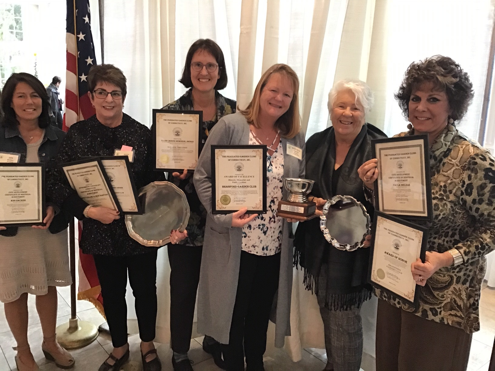 Federated Garden Club Annual Awards Recipients (l to r): Ann Hacker, Hedy Bastian, Malaine Trecoske, Marybeth Ciarlelli, Linda Holmes, Paula Inglese