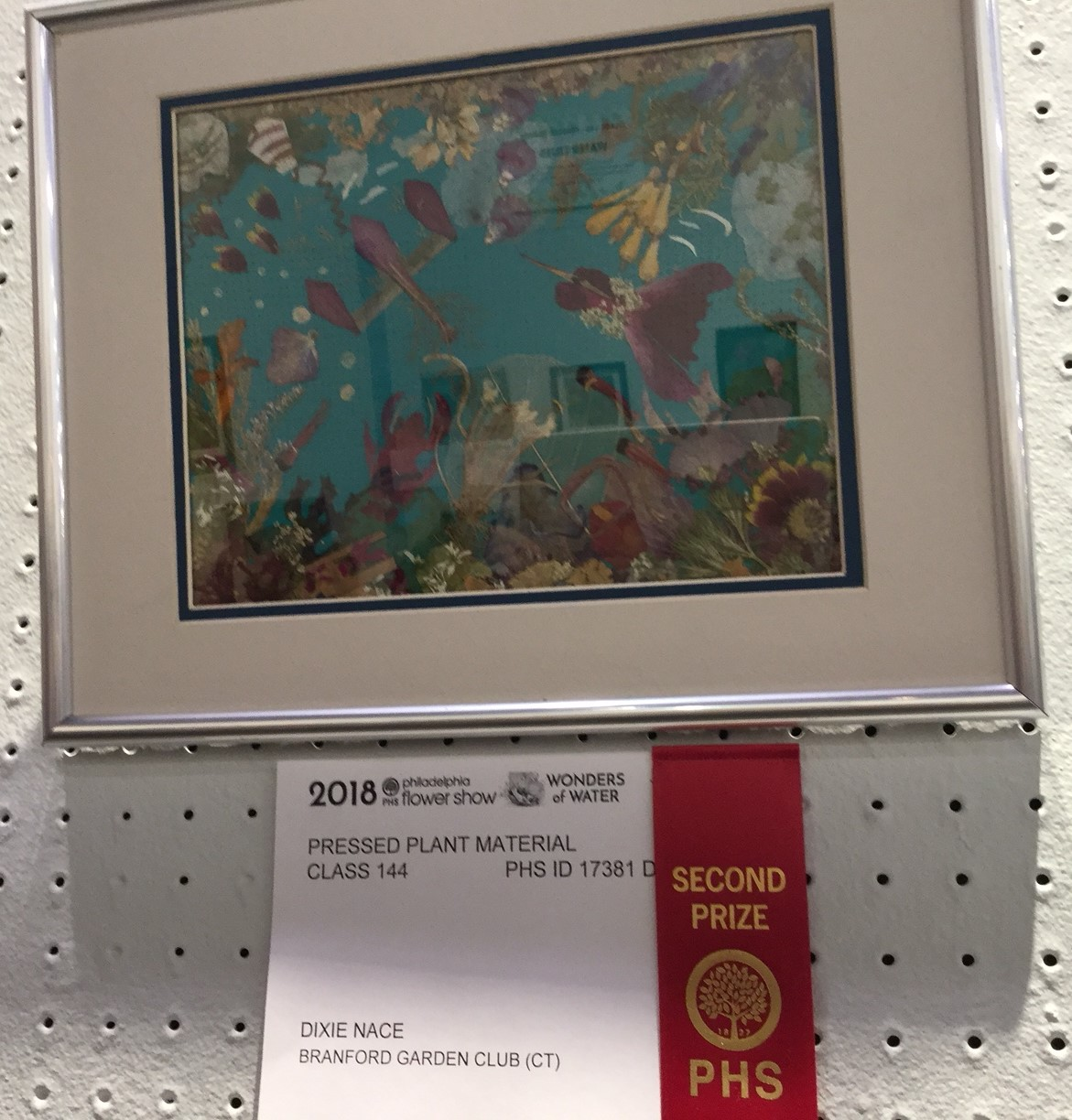 "At the Piladelphia Flower Show Dixie Nace entered ""Life Beneath the Waves"", winning her second place out of 10 entries."