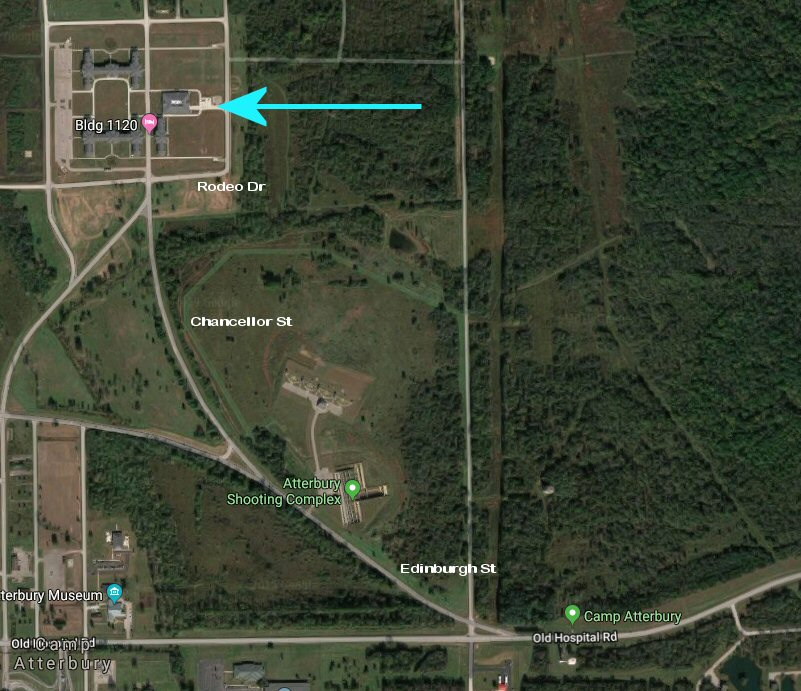 Follow East State Rd 252 through Edinburgh. When you cross US 31 continue west on SR252(Old Hospital Rd). Bear right at the fork onto Edinburgh St and then bear right onto Chancellor St. Then turn right onto Rodeo Dr and report to the building shown with an arrow to sign in.