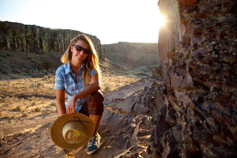 Lifestyle: Maria Vucheva at sunset in Vantage, Washington
