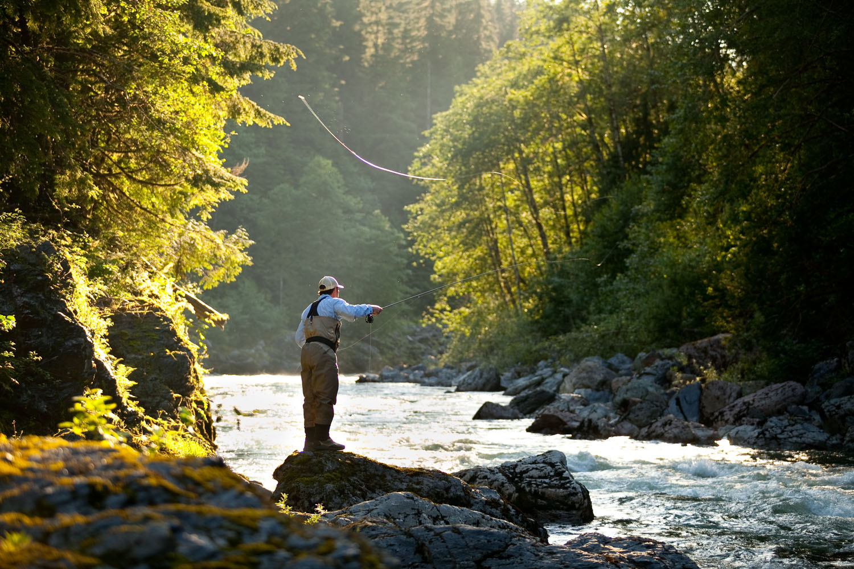 Lifestyle: Tim Casne fly fishing on the Stillaguamish River, Central Cascades, Washington