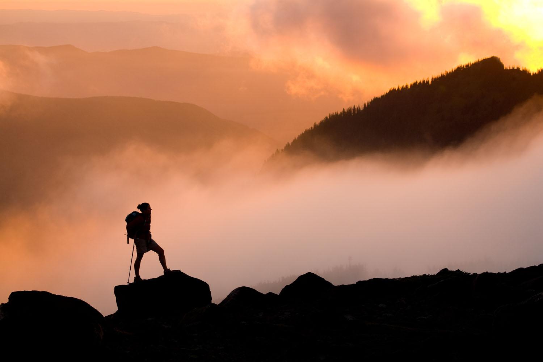 Adventure: Libby Waldo hiking at sunset in Spray Park, Mt. Rainier National Park