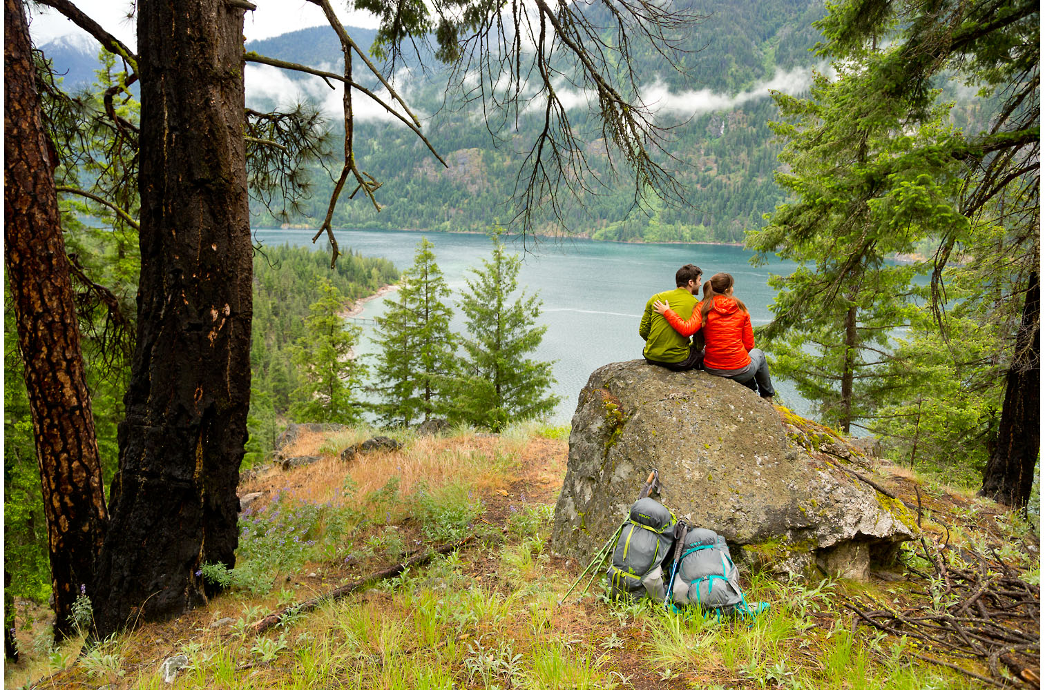 Adventure: Shannon Decker and Tyler Roberts on a backpack trip along Lake Chelan, North Cascades, Washington