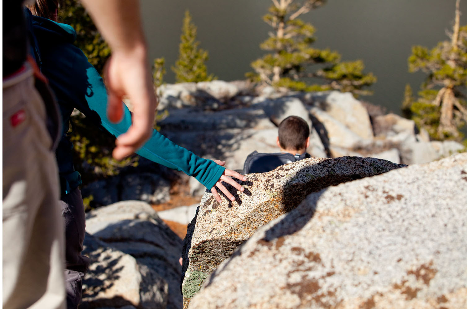 Adventure: Three friends on a backpack trip in the Eastern Sierras, California