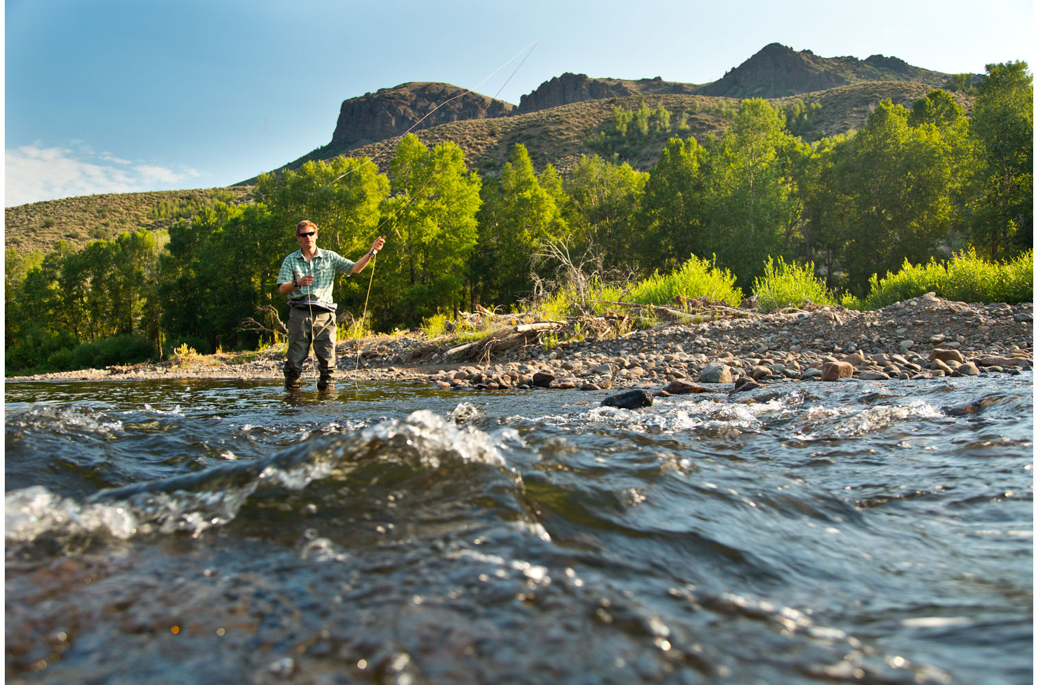Christopher Solomon fly fishing on the Little Snake River, Colorado