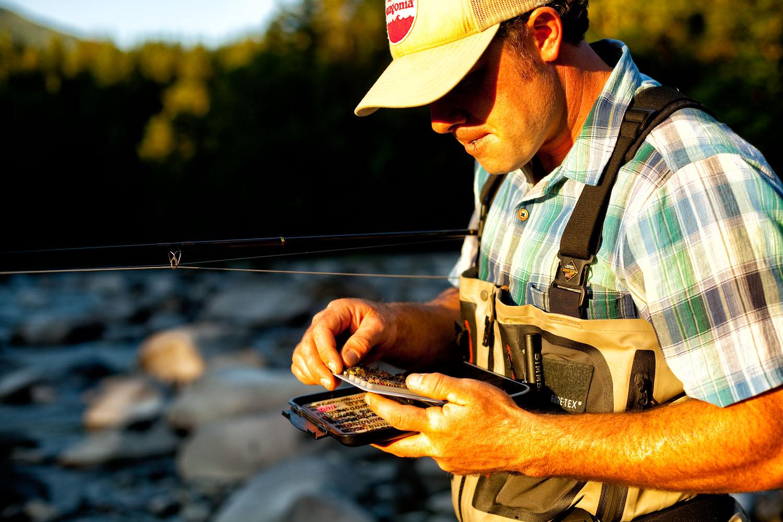 Tim Casne fly fishing on the Stillaguamish River, Central Cascades, Washington