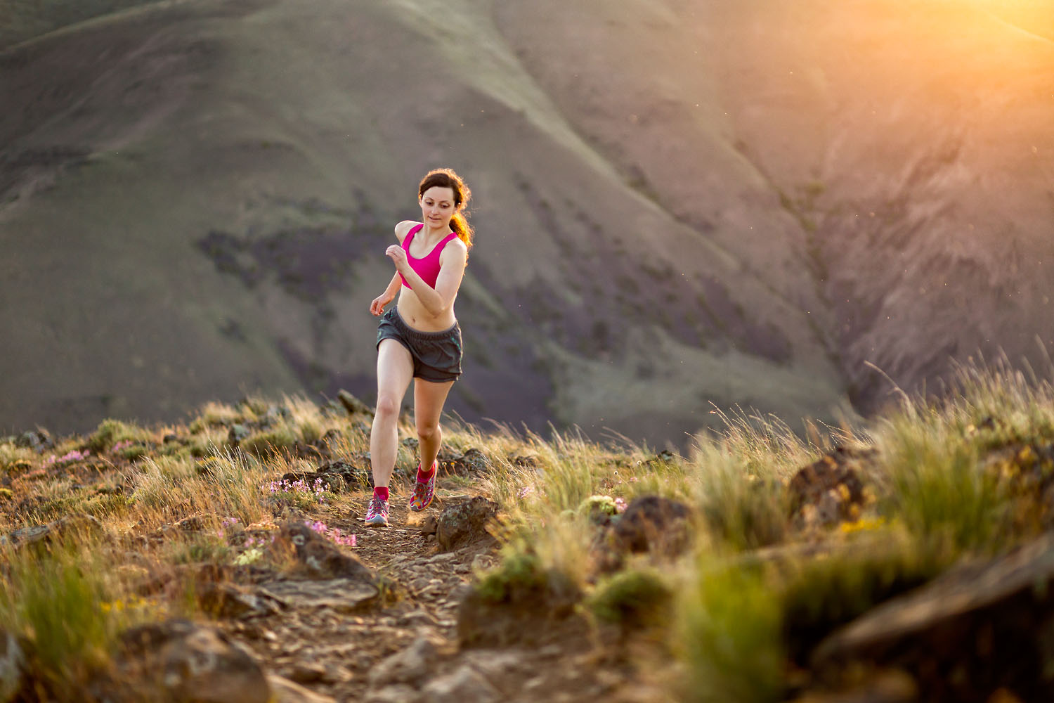 Adventure: Elizabeth Kovar trail running above Yakima Canyon at sunset, Cascade Foothills, Washington