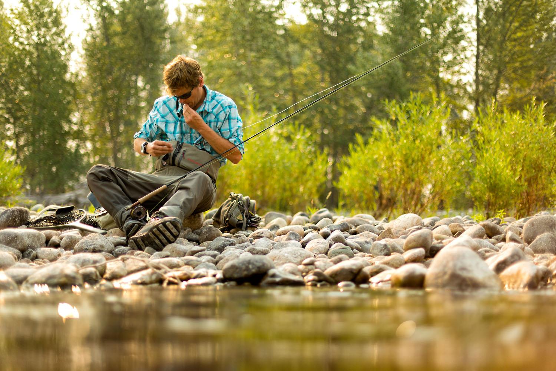 Lifestyle: Christopher Solomon fly fishing on the Methow River, Methow Valley, Washington