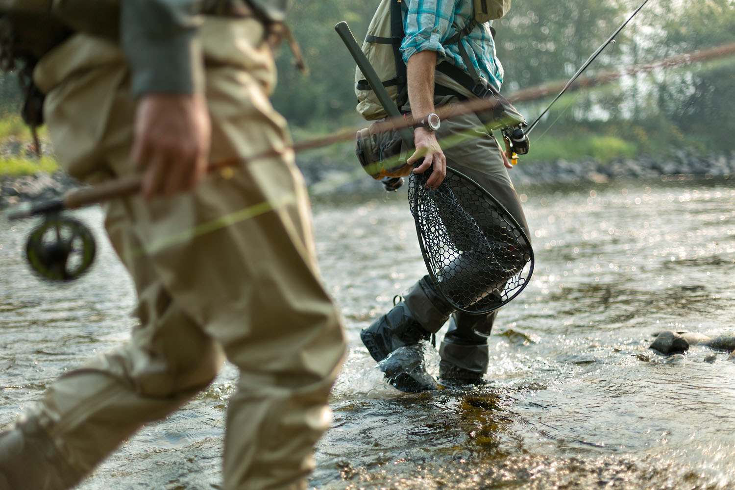 Lifestyle: Scott Schell and Christopher Solomon fly fishing on the Methow River, Methow Valley, Washington
