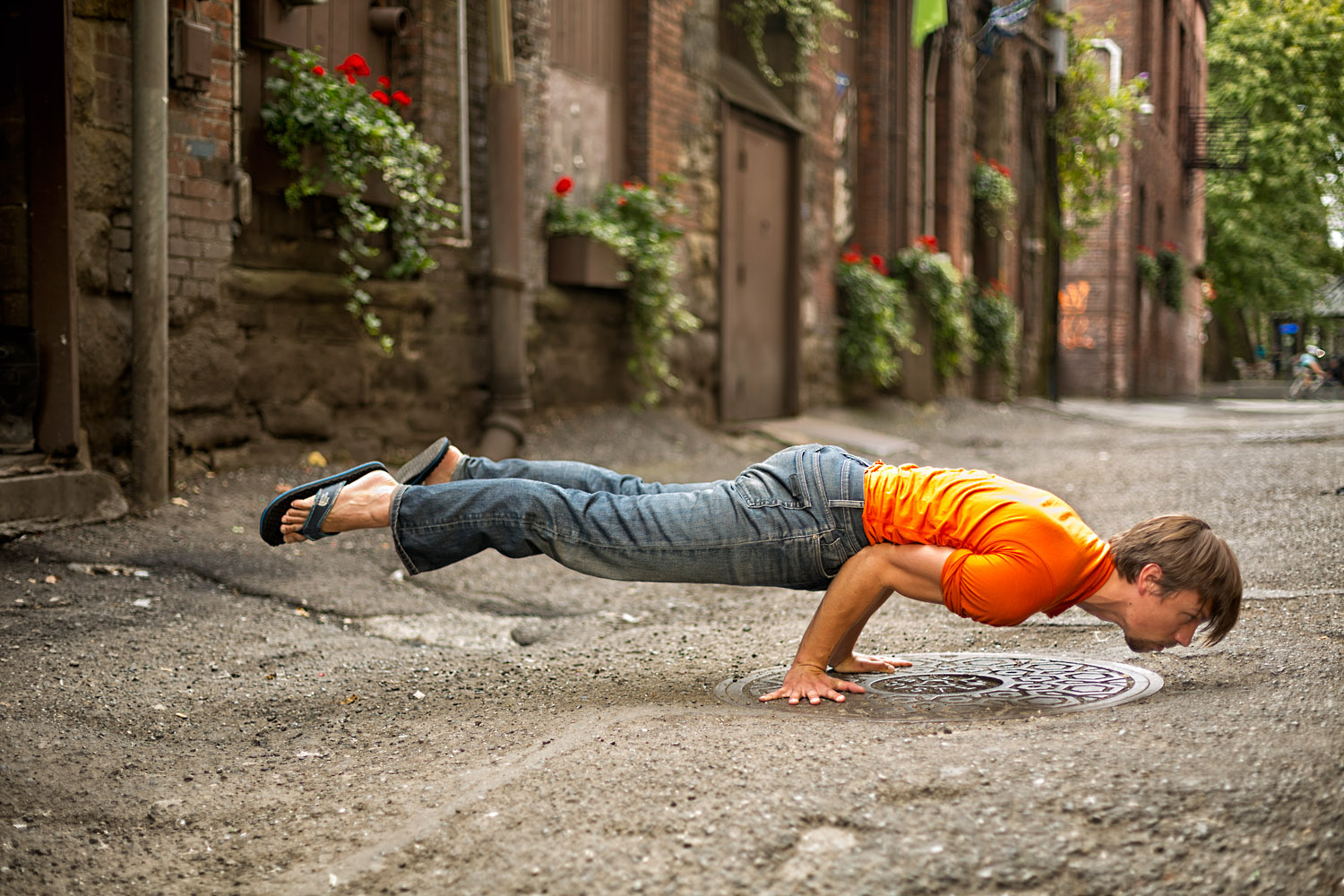 Lifestyle: A man practices urban yoga in Pioneer Square, Seattle, Washington
