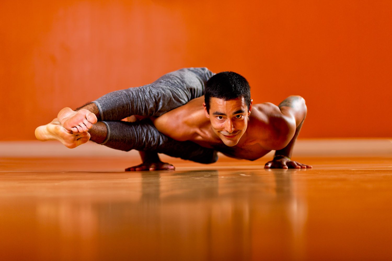 Lifestyle: Zak Endicott practicing yoga on a yoga studio in downtown Seattle, Washington