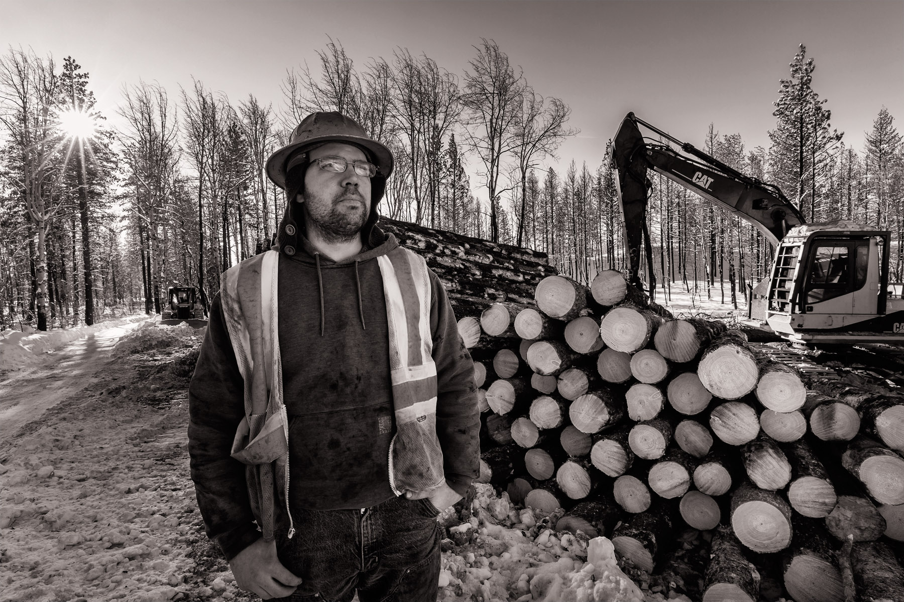 Conservation: A portrait of a logger during a salvage logging operation after a wildfire near Loup Loup Pass, Washington